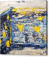 Abstract Kotel Prayer At The Western Wall Waiting For Peace In Blue Yellow Silver Jerusalem Israel  Canvas Print