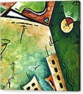 Abstract Martini Cityscape Contemporary Original Painting Martini Hour By Madart Canvas Print