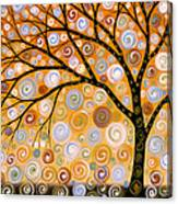 Abstract Modern Tree Landscape Dreams Of Gold By Amy Giacomelli Canvas Print