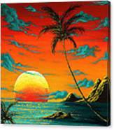 Abstract Surreal Tropical Coastal Art Original Painting Tropical Burn By Madart Canvas Print