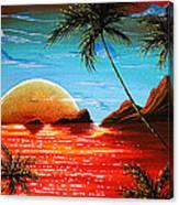 Abstract Surreal Tropical Coastal Art Original Painting Tropical Fusion By Madart Canvas Print