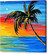 Abstract Tropical Palm Tree Painting Tropical Goodbye By Madart Canvas Print
