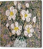 Abstract Wild Roses Heavy Impasto Canvas Print