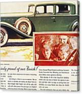 Ads: Buick, 1932 Canvas Print