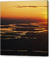 Aerial Sunset Of The Suisun Slough Canvas Print
