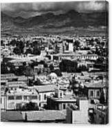 Aerial View From Southern Nicosia Over Northern Turkish Controlled Nicosia In Nicosia Lefkosia Canvas Print