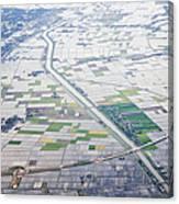 Aerial View Of Flooded Farmland Canvas Print