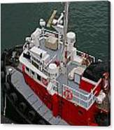 Aerial View Of Red Tug  Canvas Print