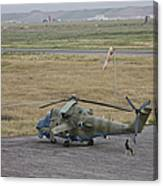 Afghan Army Soldiers Guard An Mi-35 Canvas Print