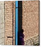 Afghan Girl In Doorway Canvas Print