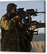 Afghan National Army Commandos Aim Canvas Print