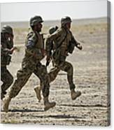 Afghan National Army Soldiers Run Canvas Print