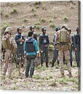 Afghan Police Students Listen To U.s Canvas Print