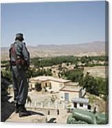 Afghan Policeman Standing Canvas Print