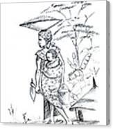 African Rural Woman Canvas Print