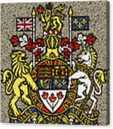 Aged And Cracked Canada Coat Of Arms Canvas Print