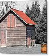 Aging Shed And Barrel Canvas Print