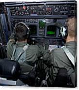 Airmen At Work In A Mc-130h Combat Canvas Print
