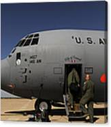 Airmen Board A C-130j Hercules At Dyess Canvas Print