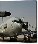 Airmen Prepare A U.s. Air Force E-3 Canvas Print