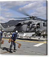 Airmen Prepare To Chock And Chain An Canvas Print