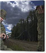 Airmen Use A Range Finder And Gps Unit Canvas Print