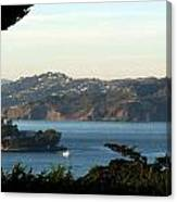 Alcatraz Island American Flag Canvas Print
