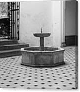 Alcazar Courtyard In Black And White Canvas Print