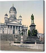 Alexander II Memorial At Senate Square In Helsinki Finland Canvas Print