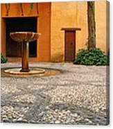 Alhambra Courtyard And Fountain In Spain Canvas Print