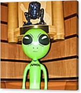 Alien In The Corner Booth Canvas Print