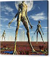 Alien Reptoid Beings Wearing Organic Canvas Print