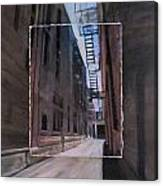 Alley With Fire Escape Layered Canvas Print