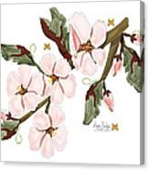 Almond Branch With Flowers And Leaves Canvas Print