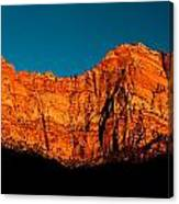 Alpenglow In Zion Canyon Canvas Print