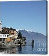 Alpine Village On The Lake Front Canvas Print