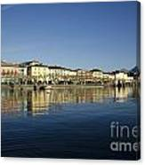 Alpine Village Reflected In The Water Canvas Print
