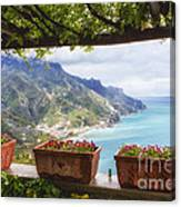 Amalfi Coast Vista From Under A Trellis Canvas Print