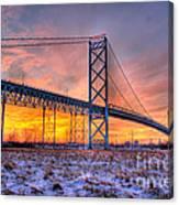 Ambassador Bridge Sunrise 1-16-2012  Detroit Mi Canvas Print