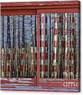 America Still Beautiful Red Picture Window Frame Photo Art View Canvas Print