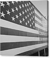American Flag At Nathan's In Black And White Canvas Print