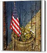 American Flag In Flower Pot - 1 Canvas Print