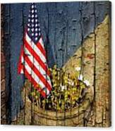 American Flag In Flower Pot - 2 Canvas Print