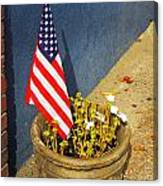 American Flag In Flower Pot - 3 Canvas Print