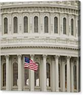 American Flag On The Capitol Building Canvas Print