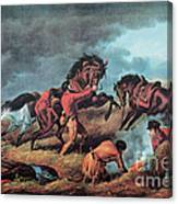American Prairie Hunters Using Fire Canvas Print