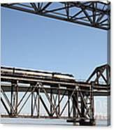 Amtrak Train Riding Atop The Benicia-martinez Train Bridge In California - 5d18837 Canvas Print