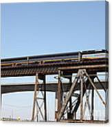 Amtrak Train Riding Atop The Benicia-martinez Train Bridge In California - 5d18839 Canvas Print