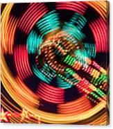 Amusement Park Ride At Night Canvas Print