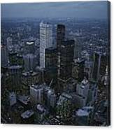An Aerial View Of Toronto At Dusk Canvas Print